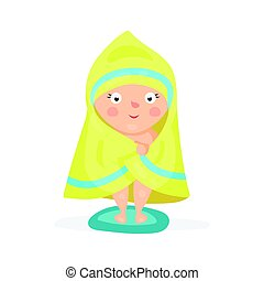 Sweet cartoon baby wrapped in a yellow towel after taking a...