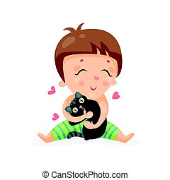 Adorable cartoon toddler baby hugging a black kitten colorful character vector Illustration