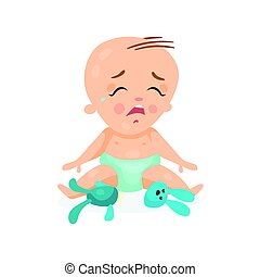 Cute cartoon baby sitting on the floor and crying next to...