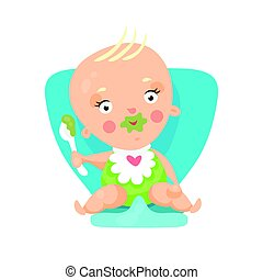 Adorable cartoon baby sitting on blue chair and eating,...