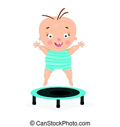 Happy cartoon baby boy jumping on a trampoline. colorful...