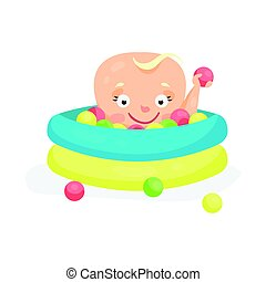 Cute cartoon baby playing in a pool with colorful balls,...