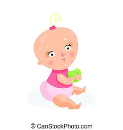 Sweet cartoon baby girl in pink cloth sitting and holding...