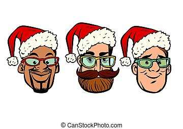 Head Santa Claus multi-ethnic group. New year and Christmas....