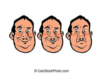 Three emotions head fat