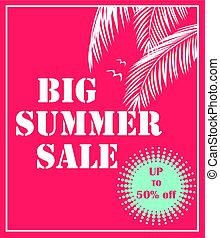 Summer sale red poster with palm leaves. Art deco style. Vector background for banner, flyer, card, brochure