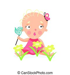 Sweet cartoon baby girl sitting on the meadow with yellow...