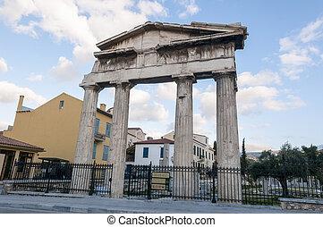 roman agora - entrance of roman agora, athens, greece