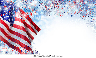 USA flag with fireworks background for 4 july independence...