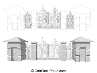 Forged gates isolated on a white background