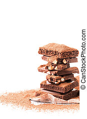 Tower of milk chocolate, porous - Photo of tower of milk...