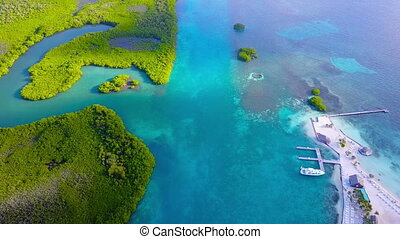 Breath-taking aerial sweep of turquoise waters and lush greenery