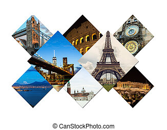 Travel collage of famouse places - Travel collage of famous...
