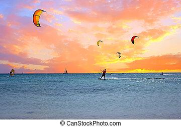 Watersport on Aruba island in the Caribbean Sea