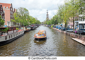 City scenic in Amsterdam the Netherlands at the...