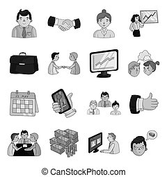 Conference and negetiations set icons in monochrome style....