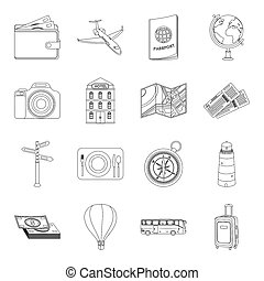 Rest and travel set icons in outline style. Big collection...