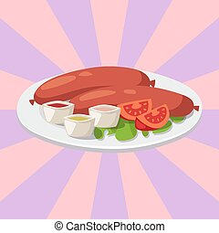Smoke dried sausages with ketchup dish meat dinner cuisine delicious lunch pork meal barbecue vector illustration