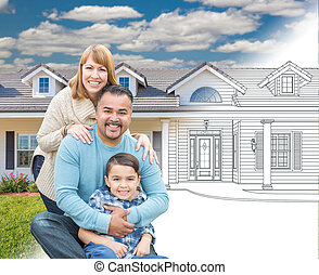 Mixed Race Hispanic and Caucasian Family In Front of...