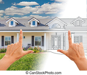 Female Hands Framing House Drawing Gradating Into...