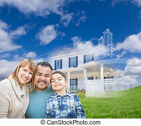 Mixed Race Hispanic and Caucasian Family In Front of Ghosted House Drawing on Grass.