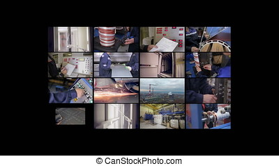 Industrial production collage. 4K. - Industrial production...