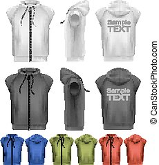 Set of black and white and colorful male hoodies with...