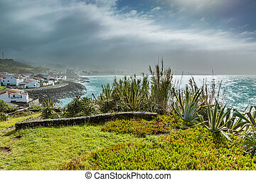 Viewpoint of the ocean coast at Sao Rogue on the Sao Miguel...