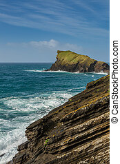 Rocky coast at Sao Rogue on Sao Miguel Island. The island of...