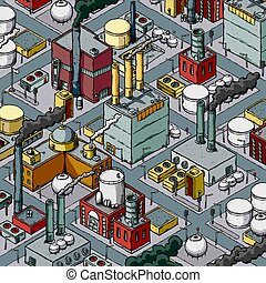 Industrial Zone - Isometric cartoon of a dense zone of heavy...