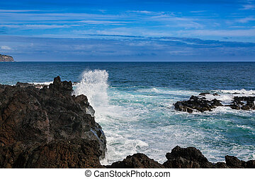 Wild coast at Lagoa on Sao Miguel Island