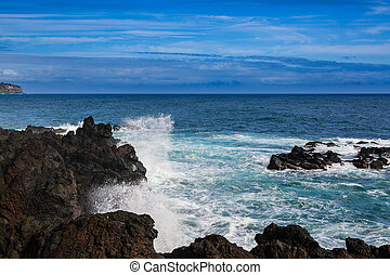 Wild coast at Lagoa on Sao Miguel Island, Azores archipelago...