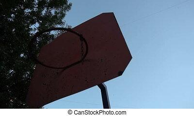 Slow motion metal basketball Hoop