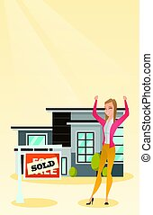 Real estate agent with sold placard.