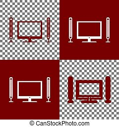 Home theater sign. Vector. Bordo and white icons and line...