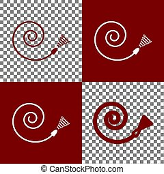 Garden hose sign. Vector. Bordo and white icons and line...