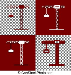 Construction crane sign. Vector. Bordo and white icons and...