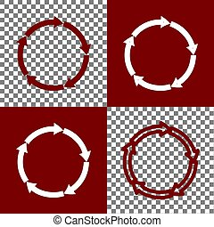 Circular arrows sign. Vector. Bordo and white icons and line...