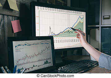 businesswoman pointing at the chart.