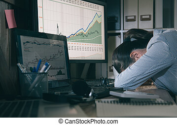 young lady accounting feeling tired