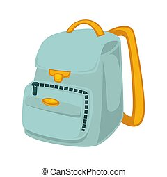 School backpack in blue and yellow colors isolated on white...