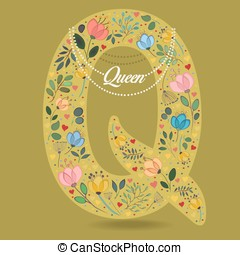 Yellow Letter Q with Floral Decor and Necklace