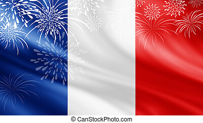 France flag with fireworks background for 14 july bastille...