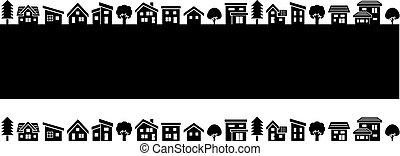 simple house and tree - black silhouette -