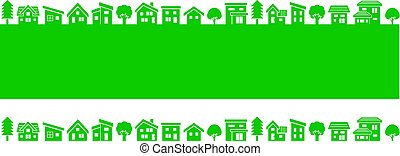 simple house and tree - green silhouette -