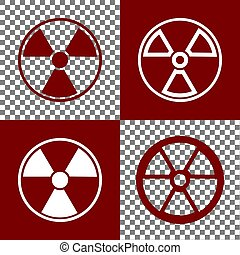 Radiation Round sign. Vector. Bordo and white icons and line...