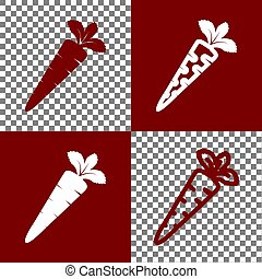 Carrot sign illustration. Vector. Bordo and white icons and...
