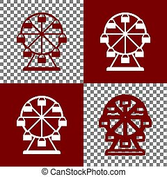 Ferris wheel sign. Vector. Bordo and white icons and line...