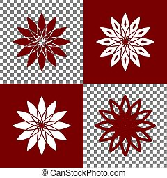 Flower sign. Vector. Bordo and white icons and line icons on...