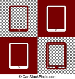 Computer tablet sign. Vector. Bordo and white icons and line...
